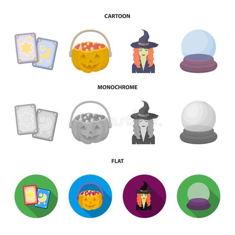 Κάρτες Tarot, διακοπές αποκριές, μάγος σε ένα καπέλο, σφαίρα κρυστάλλου Γραπτά μαγικά καθορισμένα εικονίδια συλλογής στα κινούμεν απεικόνιση αποθεμάτων
