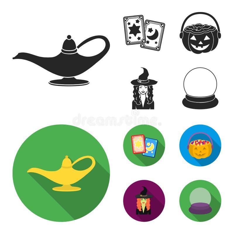 Κάρτες Tarot, διακοπές αποκριές, μάγος σε ένα καπέλο, σφαίρα κρυστάλλου Γραπτά μαγικά καθορισμένα εικονίδια συλλογής στο Μαύρο απεικόνιση αποθεμάτων