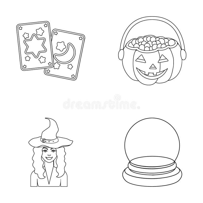 Κάρτες Tarot, διακοπές αποκριές, μάγος σε ένα καπέλο, σφαίρα κρυστάλλου Γραπτά μαγικά καθορισμένα εικονίδια συλλογής στην περίληψ απεικόνιση αποθεμάτων
