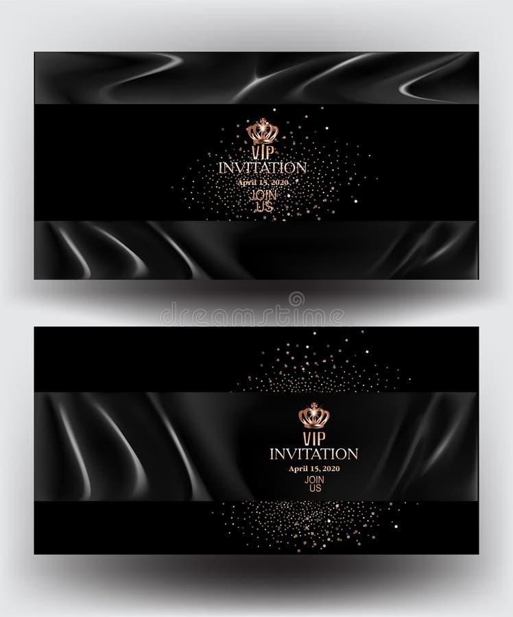 Κάρτες VIP πρόσκλησης με το μαύρο ύφασμα ατλάντων και τη χρυσή σκόνη ελεύθερη απεικόνιση δικαιώματος