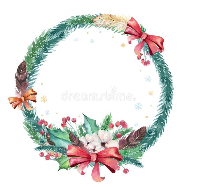 Κάρτες watercolor Χαρούμενα Χριστούγεννας με τα floral στοιχεία Γράφοντας αφίσες καλής χρονιάς Λουλούδι και κλάδος χειμερινών Χρι διανυσματική απεικόνιση