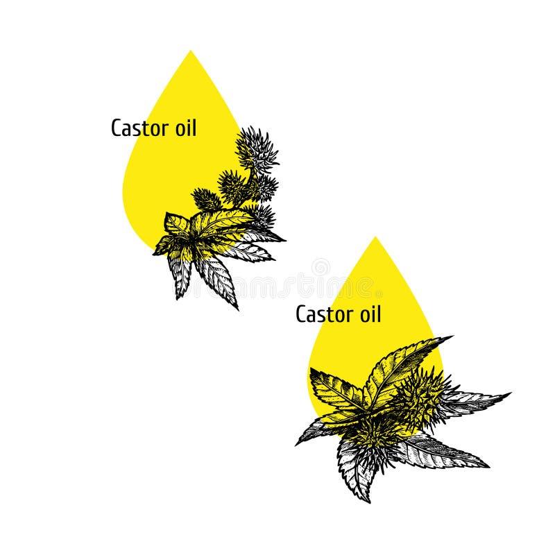 Κάστορας - σύνολο εικονιδίων πετρελαίου Συρμένο χέρι σκίτσο Εκχύλισμα των εγκαταστάσεων επίσης corel σύρετε το διάνυσμα απεικόνισ απεικόνιση αποθεμάτων