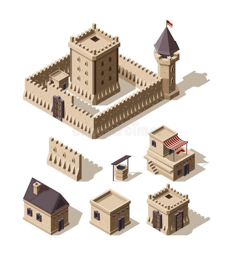 Κάστρα isometric Μεσαιωνικά ιστορικά κινούμενων σχεδίων αρχιτεκτονικής διανυσματικά κάστρα αγροτικών σπιτιών κτηρίων αρχαία απεικόνιση αποθεμάτων