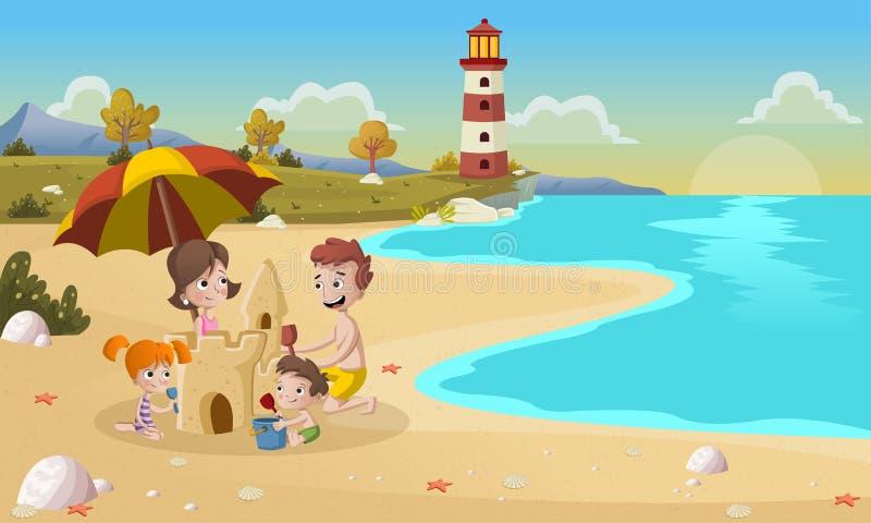 Κάστρο άμμου οικογενειακής οικοδόμησης στην όμορφη παραλία απεικόνιση αποθεμάτων
