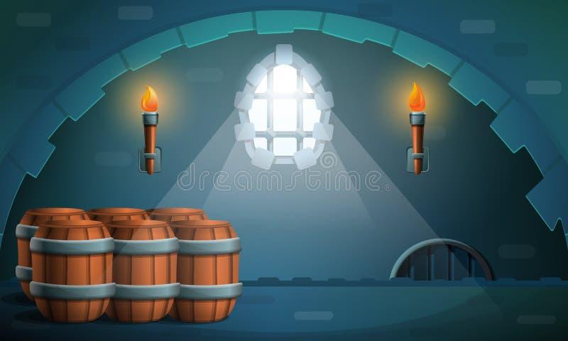 Κάστρο μπουντρουμιών με τα βαρέλια, διανυσματική απεικόνιση ελεύθερη απεικόνιση δικαιώματος
