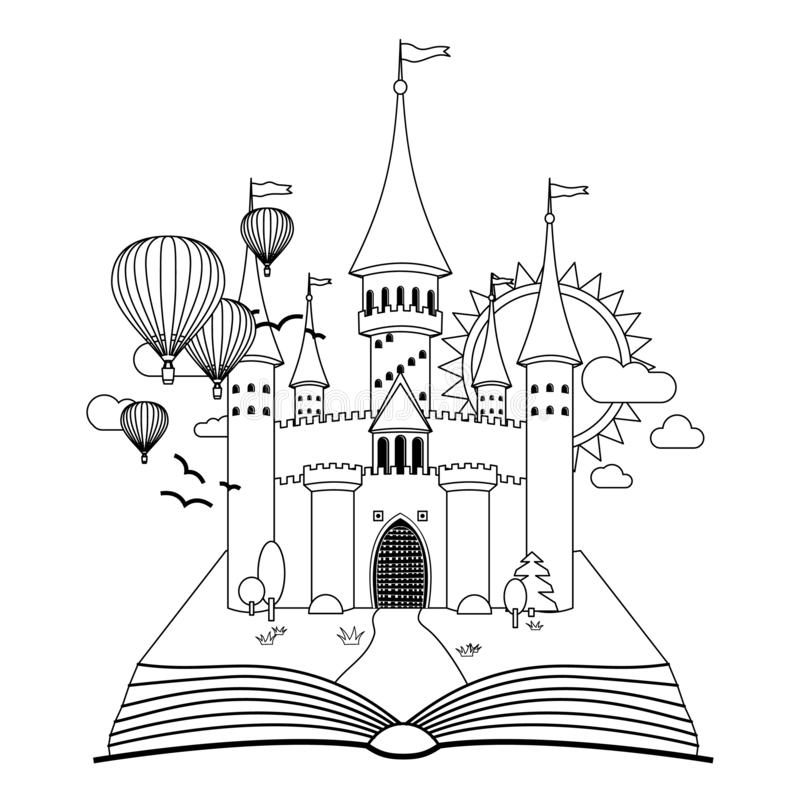 Κάστρο παραμυθιού στο βιβλίο που χρωματίζει τη διανυσματική εικόνα ελεύθερη απεικόνιση δικαιώματος