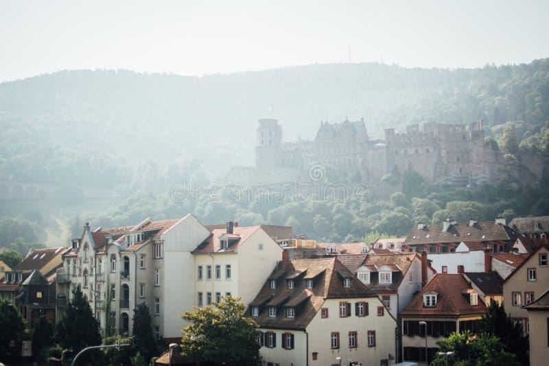Κάστρο της Χαϋδελβέργης στη μέση του βουνού στοκ εικόνες με δικαίωμα ελεύθερης χρήσης