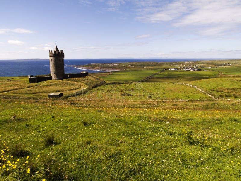 Κάστρο Doonagore με θέα την ακτογραμμή του Doolin στοκ εικόνες