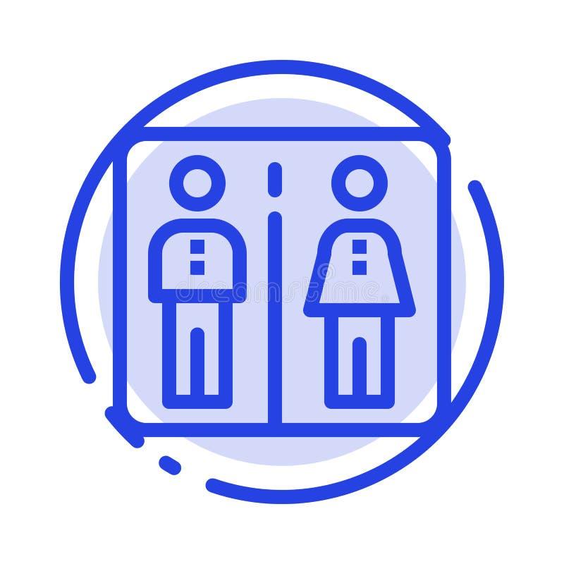 Κάτω από, ανελκυστήρας, μηχανή, μπλε εικονίδιο γραμμών διαστιγμένων γραμμών ξενοδοχείων ελεύθερη απεικόνιση δικαιώματος