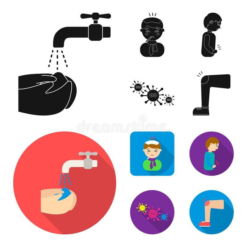 Κάτω από μια βρύση με το πλύσιμο νερού τα χέρια τους, ο ασθενής με ένα μπουκάλι ζεστού νερού με τον πάγο στο κεφάλι του σε ένα μα απεικόνιση αποθεμάτων
