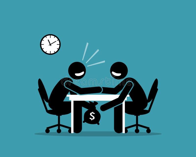 Κάτω από τα επιτραπέζια χρήματα απεικόνιση αποθεμάτων