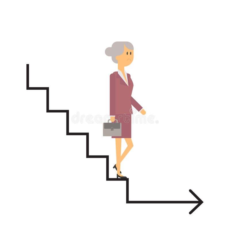 Κάτω από την εταιρική σκάλα, το τέλος της επιχείρησης, ηλικιωμένοι ελεύθερη απεικόνιση δικαιώματος