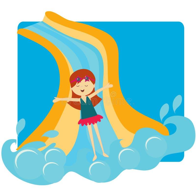 κάτω από την ολίσθηση φωτογραφικών διαφανειών λιμνών κοριτσιών διανυσματική απεικόνιση