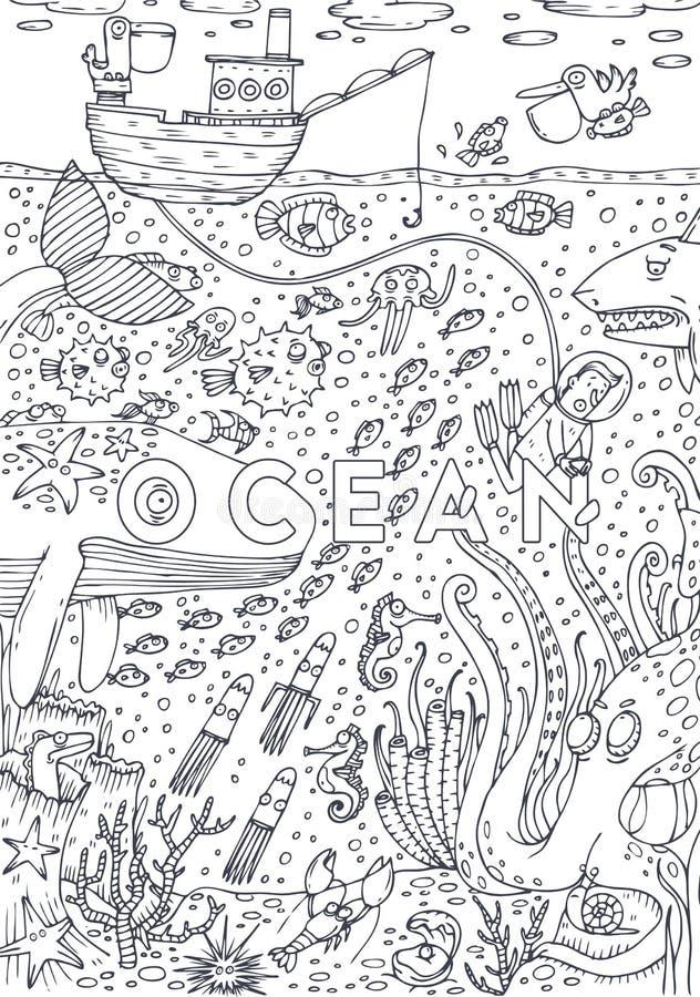 Κάτω από τη ζωή θάλασσας νερού που σύρεται στο ύφος τέχνης γραμμών Σχέδιο σελίδων βιβλίων χρωματισμού απεικόνιση αποθεμάτων