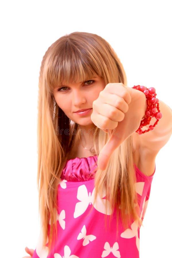 κάτω από τις απομονωμένες νεολαίες γυναικών αντίχειρων στοκ εικόνες