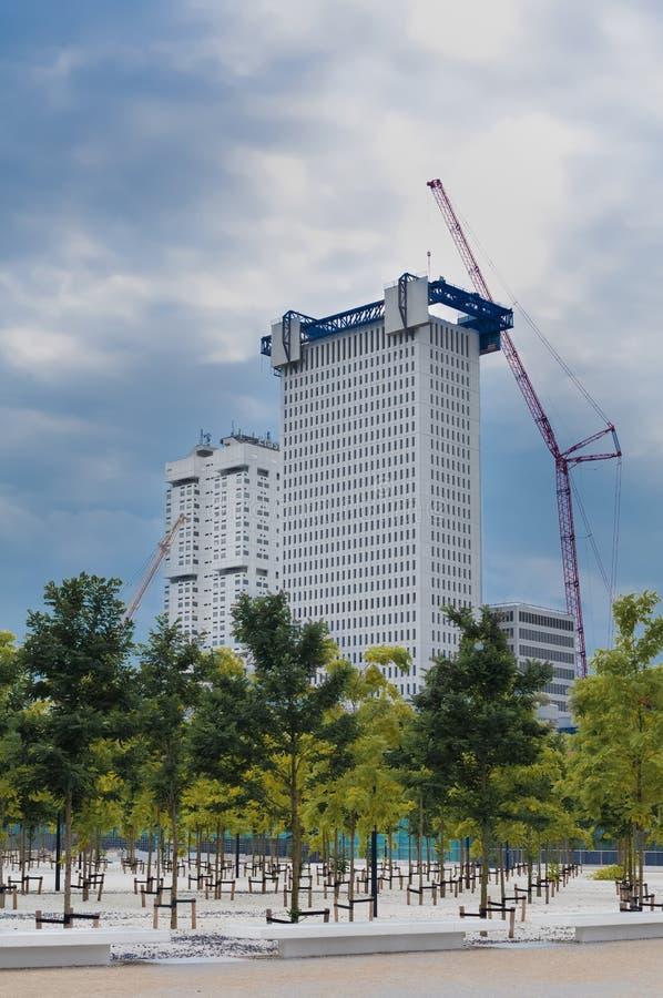 Κάτω από τον ουρανοξύστη κατασκευής στο Ρότερνταμ με το μπλε υψηλό scaffo στοκ φωτογραφίες με δικαίωμα ελεύθερης χρήσης