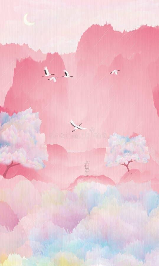 Κάτω από το δέντρο ροδακινιών, ο γερανός πετά, το κορίτσι περιμένει το αγαπημένο πρόσωπό της να επεξηγήσει τη συσκευασία ελεύθερη απεικόνιση δικαιώματος