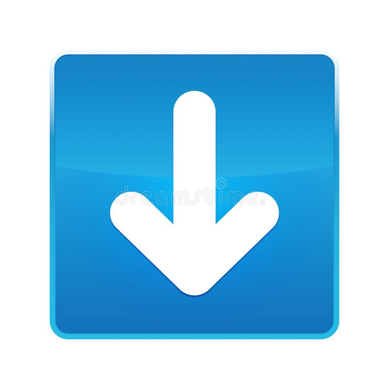 Κάτω από το λαμπρό μπλε τετραγωνικό κουμπί εικονιδίων βελών ελεύθερη απεικόνιση δικαιώματος
