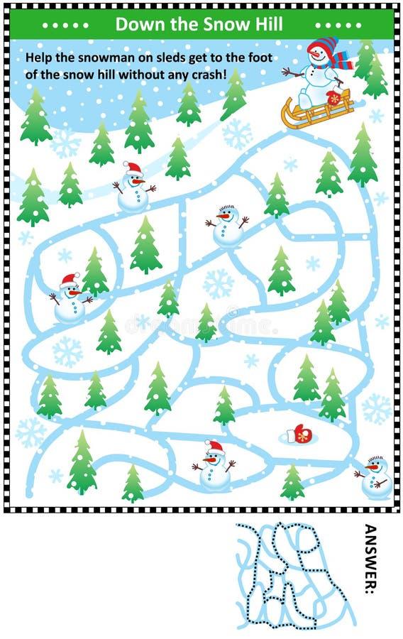 Κάτω από το λόφο χιονιού με το παιχνίδι λαβυρίνθου χιονανθρώπων απεικόνιση αποθεμάτων