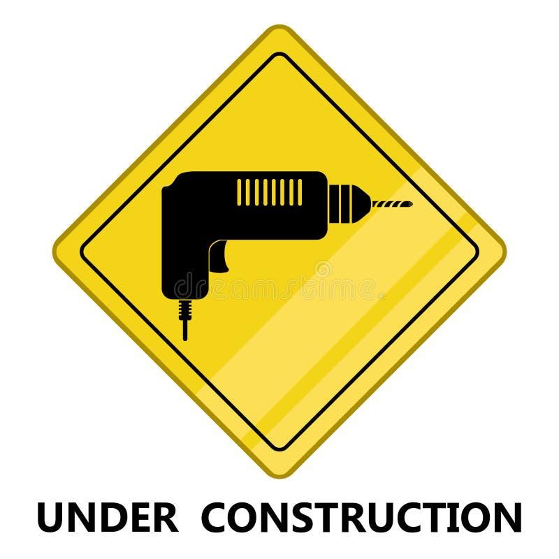 Κάτω από το σήμα διέλευσης κατασκευής διανυσματική απεικόνιση
