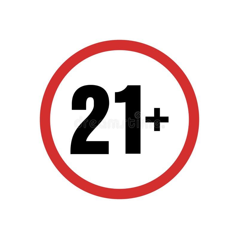 Κάτω από το σύμβολο προειδοποίησης 21 σημαδιού Πάνω από 21 που λογοκρίνονται μόνο Παλαιότερο απαγορευμένο ενήλικο περιεχόμενο δεκ απεικόνιση αποθεμάτων