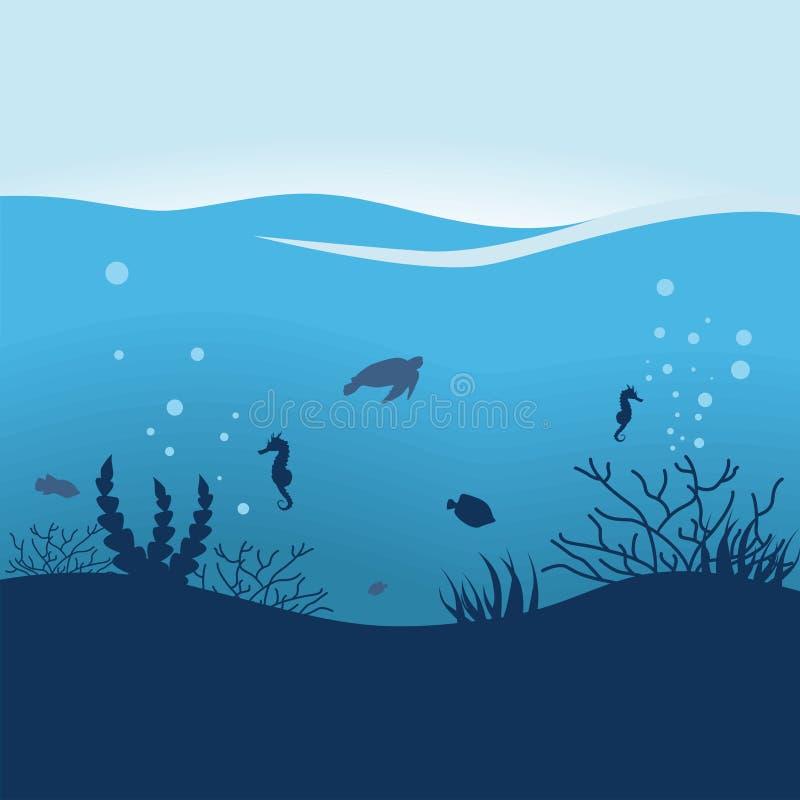Κάτω από το ωκεάνιο επίπεδο διανυσματικό illuatration σχεδίου διανυσματική απεικόνιση