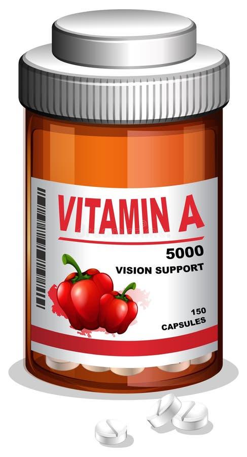 Κάψα βιταμίνης Α στο εμπορευματοκιβώτιο διανυσματική απεικόνιση