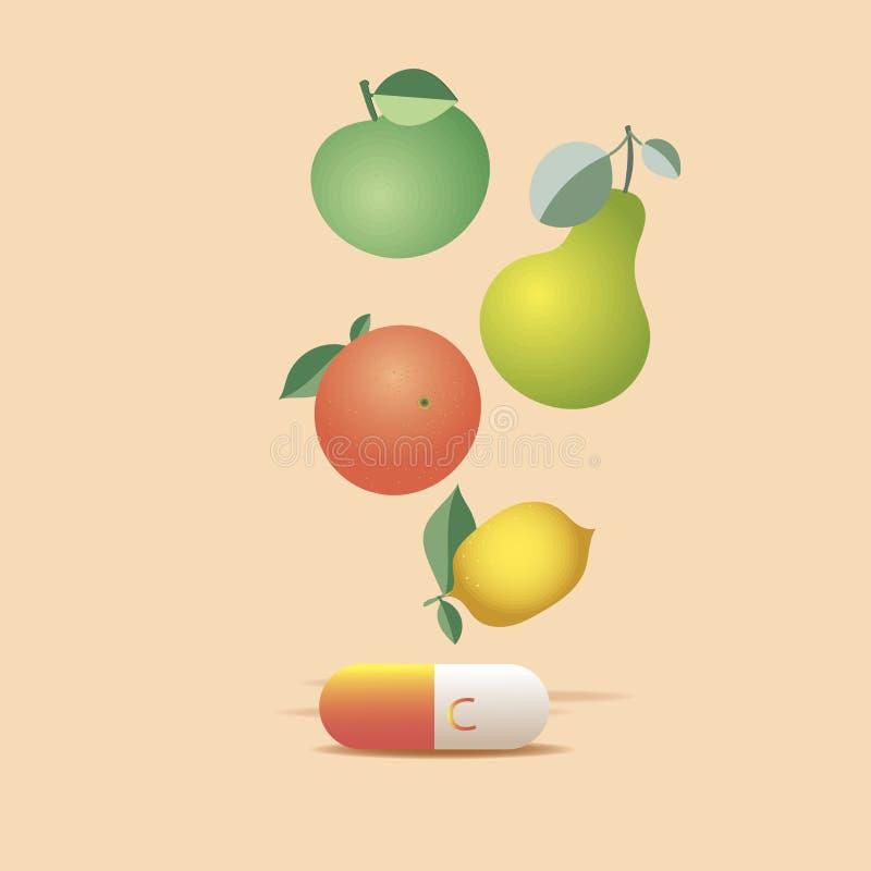 Κάψα βιταμίνης C Φρούτα Έμβλημα υγειονομικής περίθαλψης διανυσματική απεικόνιση