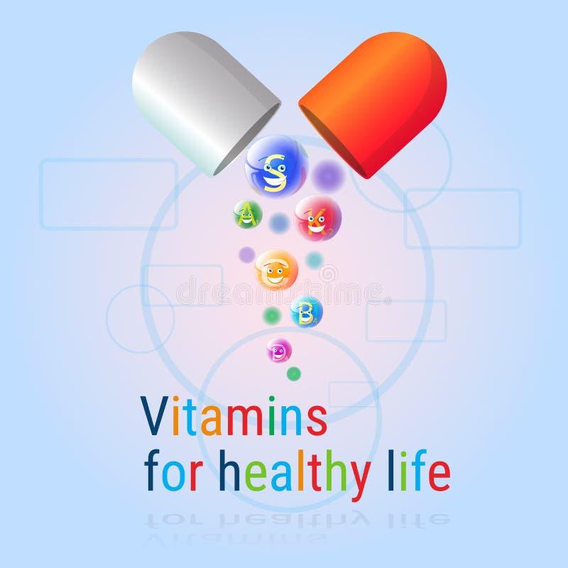 Κάψα με βιταμινών τη θρεπτική μεταλλευμάτων ζωηρόχρωμη έννοια στοιχείων χημείας διατροφής ζωής εμβλημάτων υγιή απεικόνιση αποθεμάτων