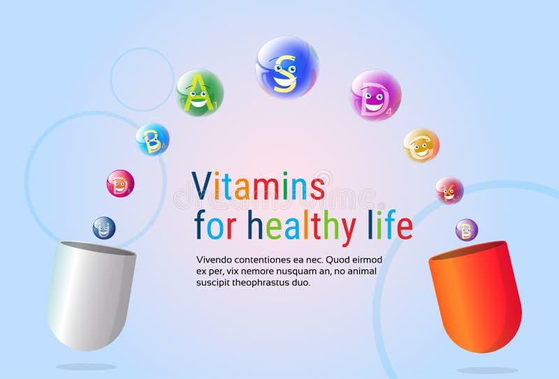 Κάψα με βιταμινών τη θρεπτική μεταλλευμάτων ζωηρόχρωμη έννοια στοιχείων χημείας διατροφής ζωής εμβλημάτων υγιή διανυσματική απεικόνιση