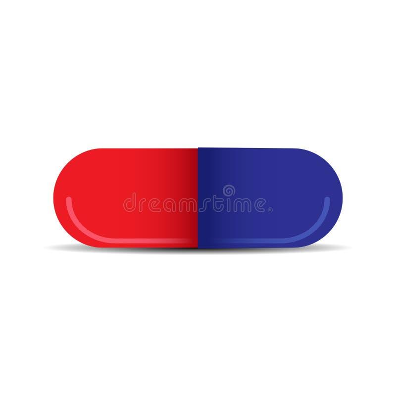 Κάψα με την ιατρική των κόκκινων και μπλε μισών απεικόνιση αποθεμάτων