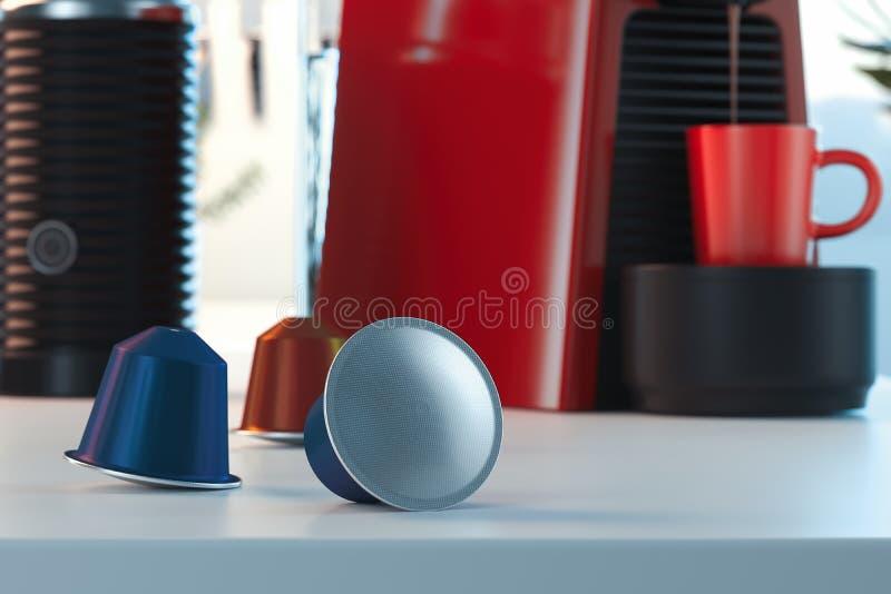 Κάψες καφέ Espresso κοντά στη μηχανή καφέ φρέσκος καφές στη φωτεινή σύγχρονη άνετη κουζίνα r ελεύθερη απεικόνιση δικαιώματος