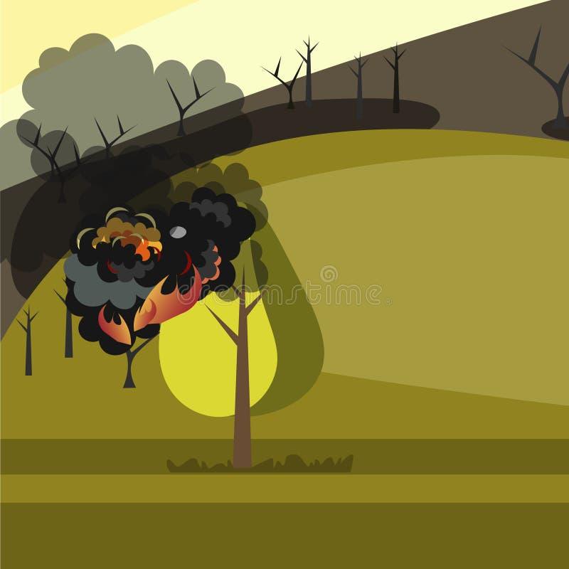 Κάψιμο των δασικών δέντρων στις φλόγες πυρκαγιάς διανυσματική απεικόνιση