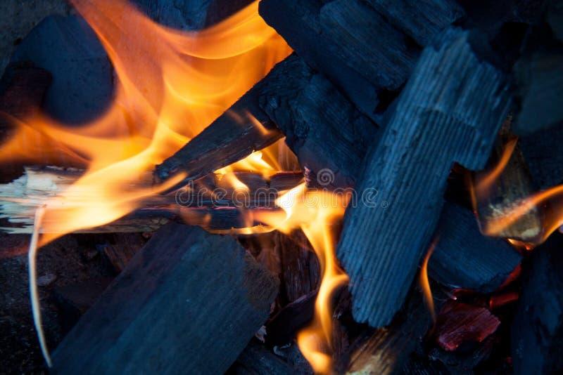 Κάψιμο των ξύλινων ανθράκων για τη σχάρα στοκ εικόνες
