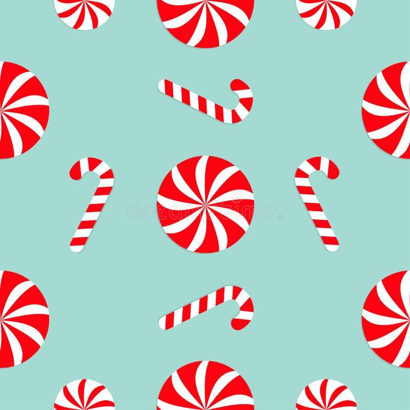 Κάλαμος καραμελών Χριστουγέννων γύρω από το άσπρο και κόκκινο γλυκό σύνολο Άνευ ραφής διακόσμηση σχεδίων Τυλίγοντας έγγραφο, υφαν ελεύθερη απεικόνιση δικαιώματος