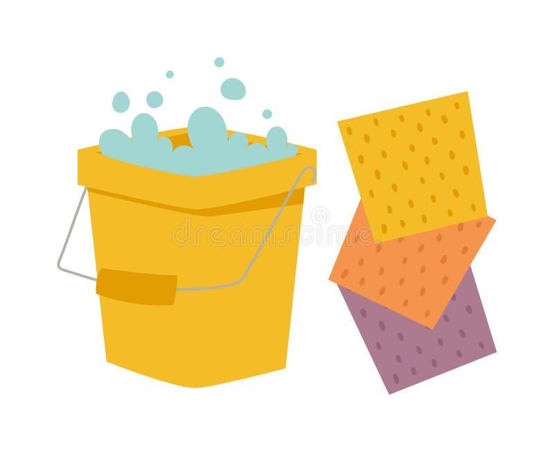 Κάδος και ύφασμα για τον καθαρισμό της επίπεδης διανυσματικής απεικόνισης οικιακών στο λευκό διανυσματική απεικόνιση