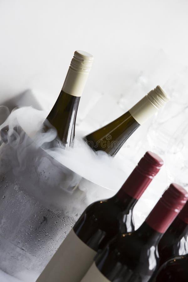 Κάδος με τα μπουκάλια υγρού αζώτου και κρασιού στοκ εικόνα