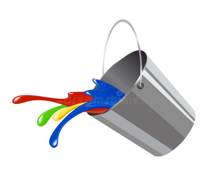 Κάδος με το χρώμα για το εικονίδιο απεικόνιση αποθεμάτων