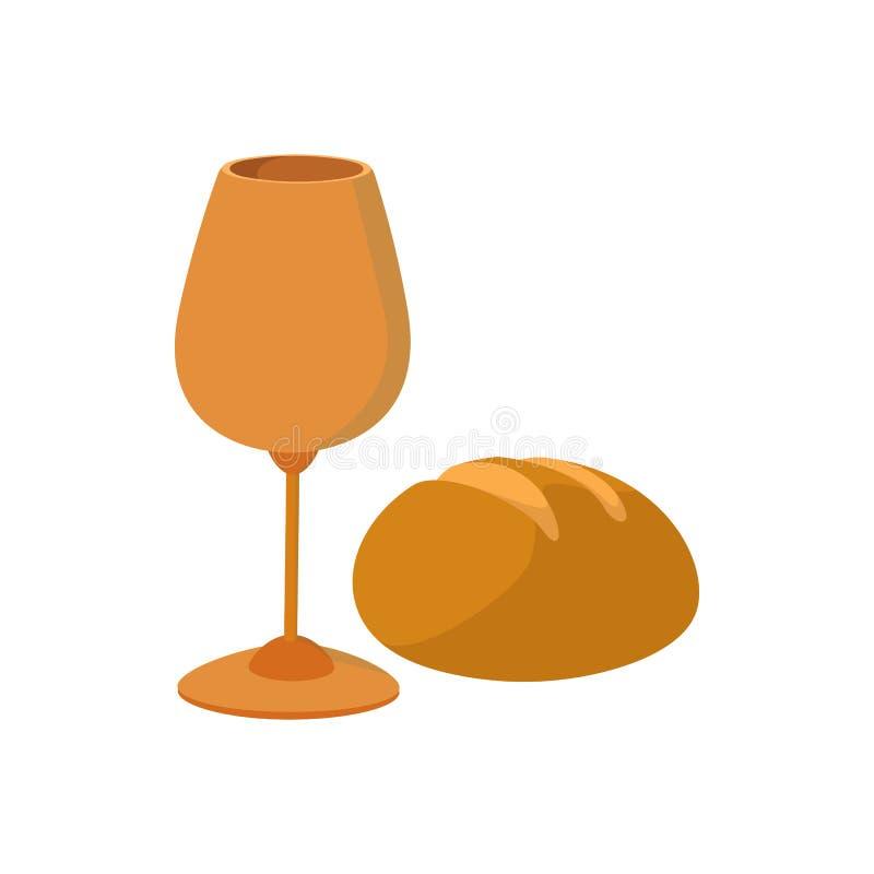 Κάλυκας με το κρασί, κομμάτι του εικονιδίου κινούμενων σχεδίων ψωμιού διανυσματική απεικόνιση