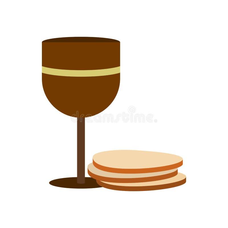 Κάλυκας του κρασιού και του εικονιδίου γκοφρετών απεικόνιση αποθεμάτων