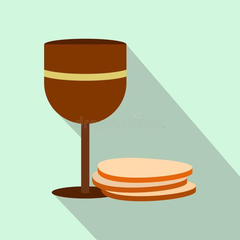 Κάλυκας του κρασιού και του επίπεδου εικονιδίου γκοφρετών απεικόνιση αποθεμάτων