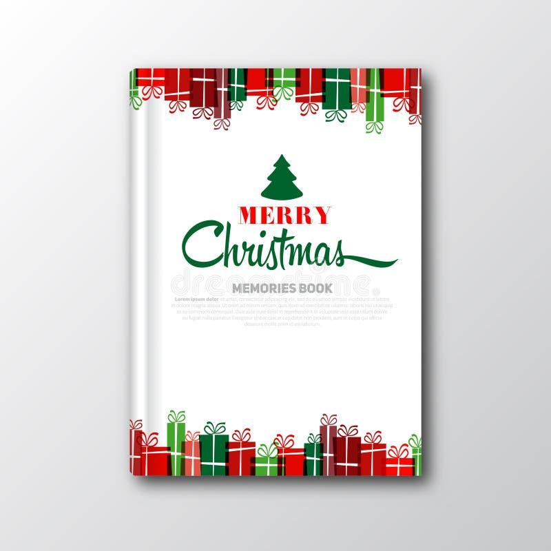 Κάλυψη βιβλίων Χριστουγέννων ή πρότυπο ιπτάμενων διανυσματική απεικόνιση