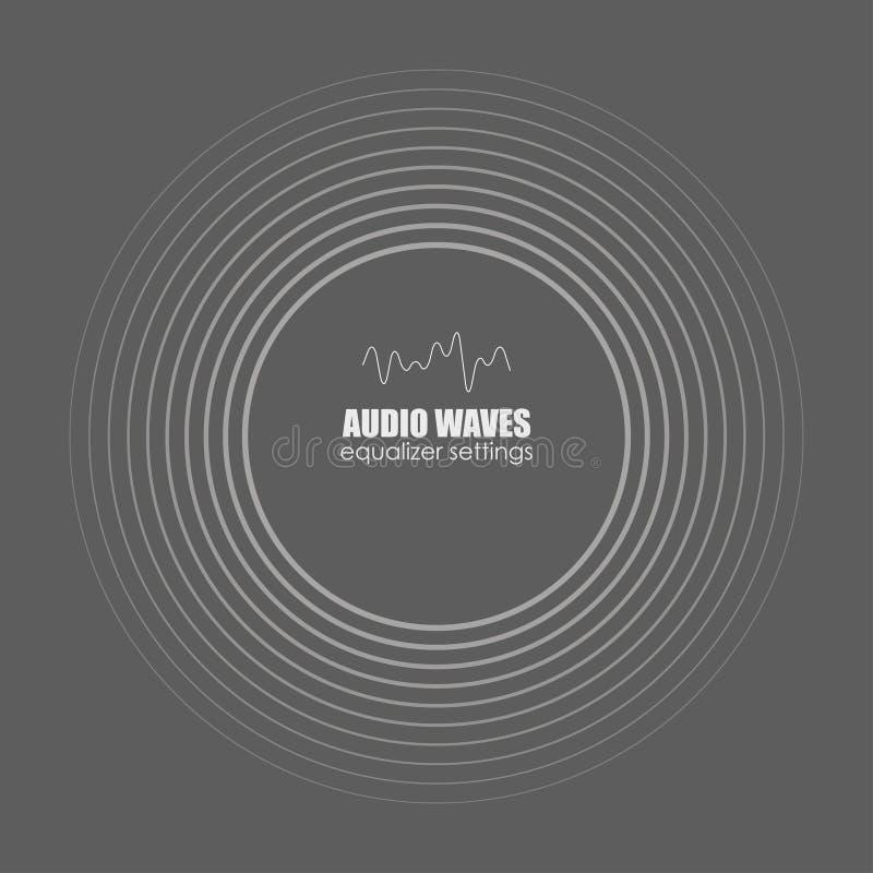 Κάλυψη για το λεύκωμα ή τη διαδρομή μουσικής ανασκόπησης μαύρο λευκό κυμάτων απεικόνισης υγιές διανυσματικό Ακουστική τεχνολογία, απεικόνιση αποθεμάτων