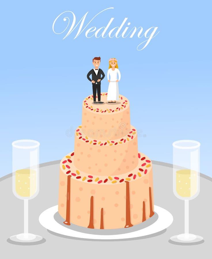 Κέικ γαμήλιου εορτασμού και γυαλιά CHAMPAGNE απεικόνιση αποθεμάτων