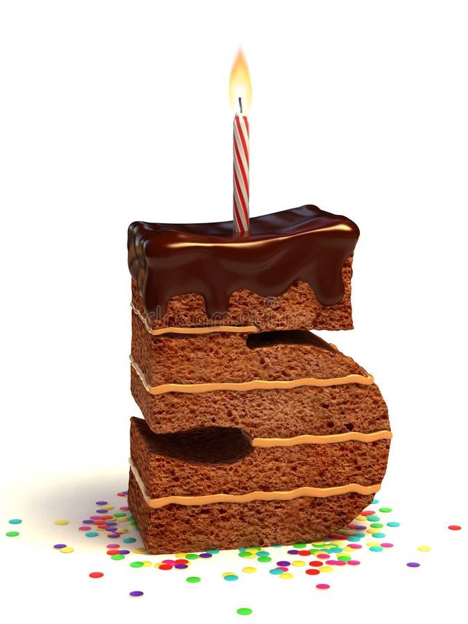 κέικ γενεθλίων μορφή πέντε &a διανυσματική απεικόνιση