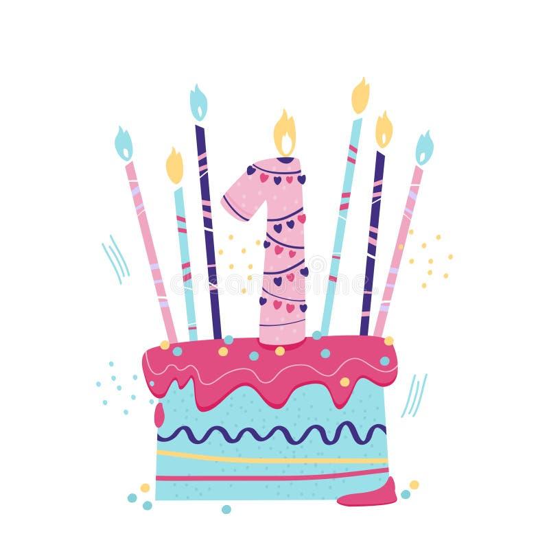 Κέικ γενεθλίων Το πρώτο έτος ζωής Γειά σου μωρό διανυσματική απεικόνιση