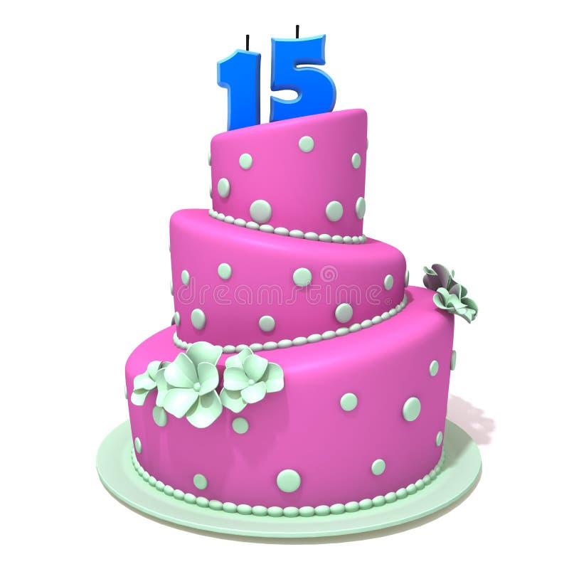 Κέικ γενεθλίων με τον αριθμό δεκαπέντε διανυσματική απεικόνιση
