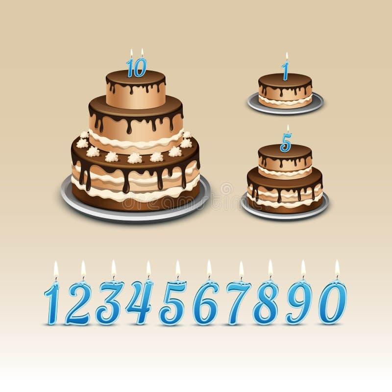 Κέικ γενεθλίων με τους αριθμούς κεριών διανυσματική απεικόνιση