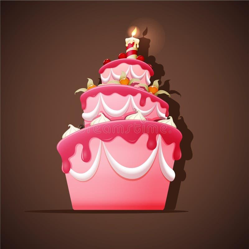 Κέικ γενεθλίων με το κερί ελεύθερη απεικόνιση δικαιώματος