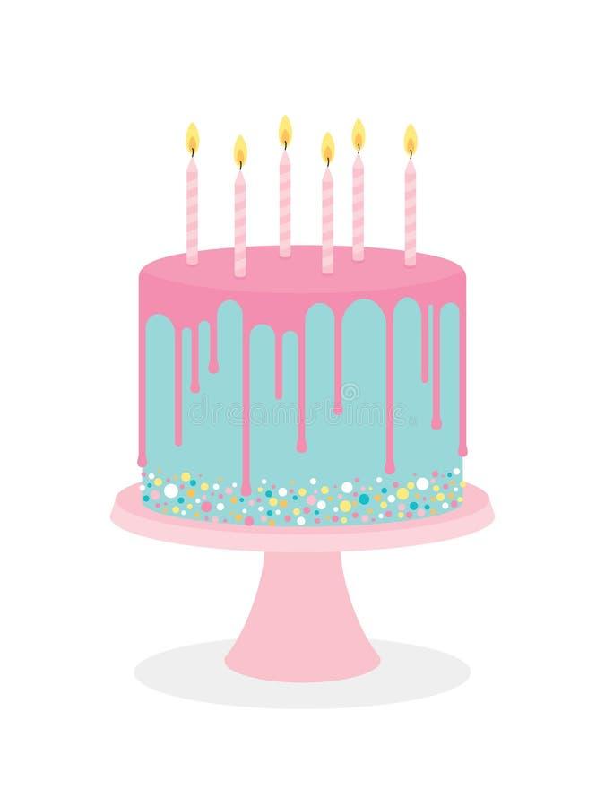 Κέικ γενεθλίων με το πάγωμα και το κάψιμο των κεριών ελεύθερη απεικόνιση δικαιώματος